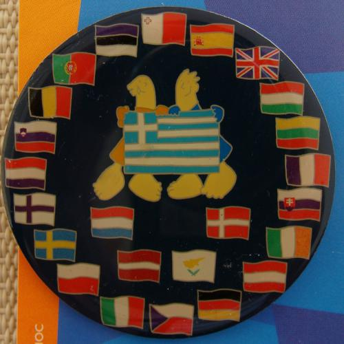 EU Flags With Mascots Pins