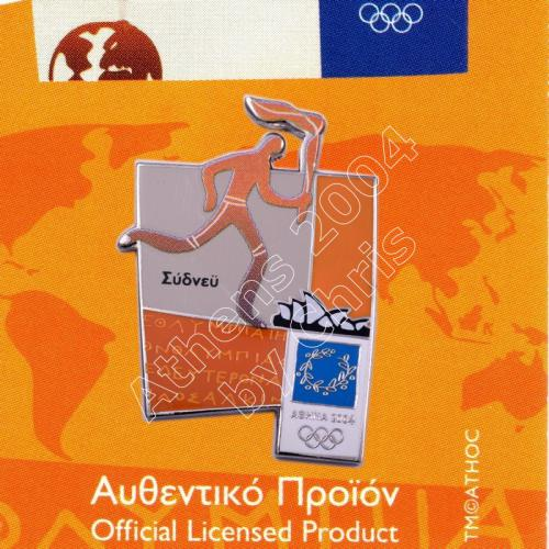 #04-167-001 Torch relay international route pictogram city Sydney Athens 2004 olympic pin