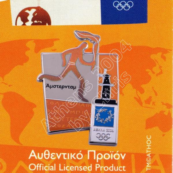 #04-167-007 Torch relay international route pictogram city Amsterdam Athens 2004 olympic pin