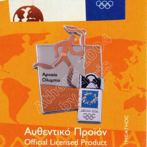 #04-167-013 Torch relay international route pictogram city Ancient Olympia Athens 2004 olympic pin
