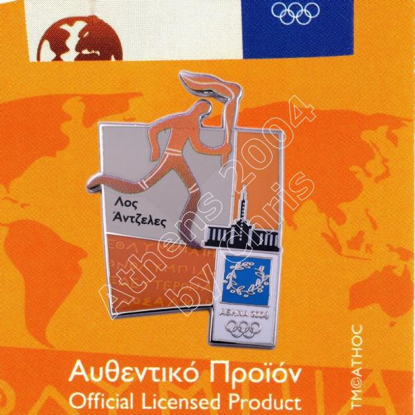 #04-167-030 Torch relay international route pictogram city Los Angeles Athens 2004 olympic pin