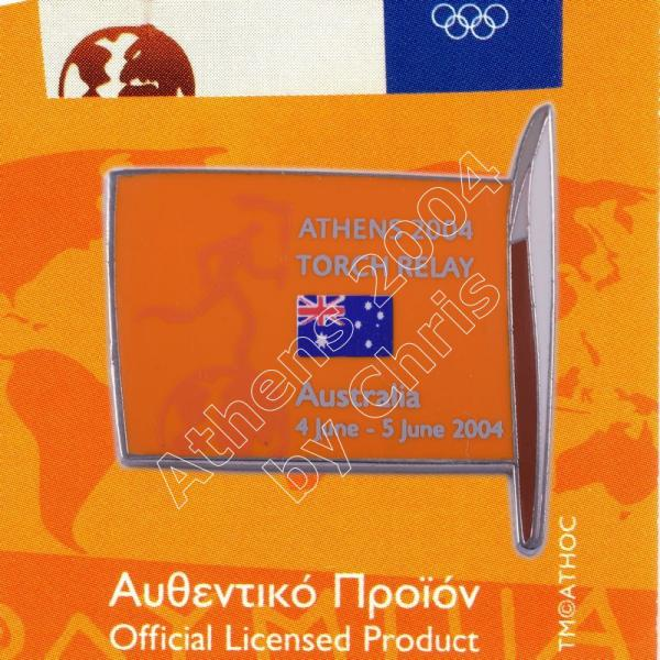 #04-169-002 Torch Relay International Route With Greek Flag Australia 2004 olympic pin