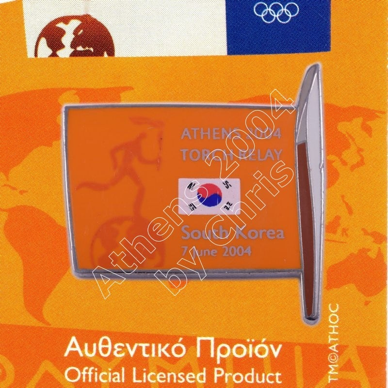 #04-169-004 Torch Relay International Route With Greek Flag South Korea 2004 olympic pin