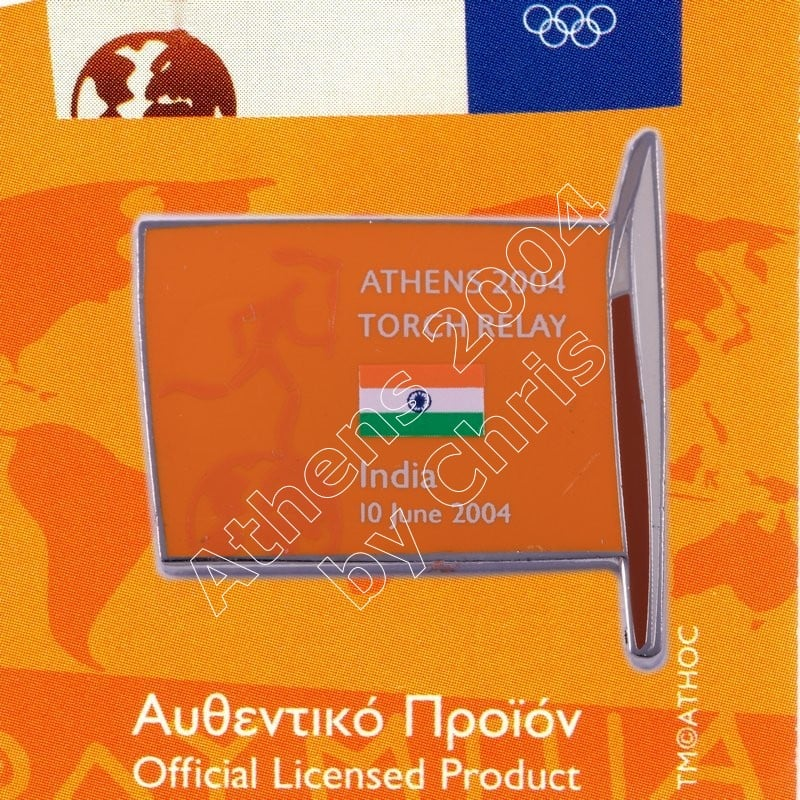 #04-169-006 Torch Relay International Route With Greek Flag India 2004 olympic pin