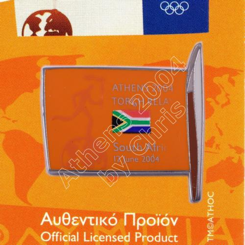 #04-169-008 Torch Relay International Route With Greek Flag South Africa 2004 olympic pin