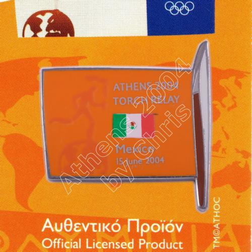 #04-169-010 Torch Relay International Route With Greek Flag Mexico 2004 olympic pin