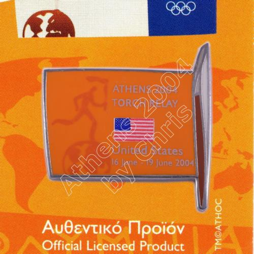 #04-169-011 Torch Relay International Route With Greek Flag USA 2004 olympic pin