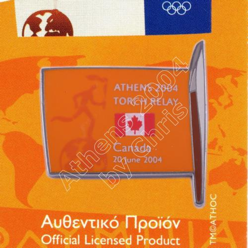 #04-169-012 Torch Relay International Route With Greek Flag Canada 2004 olympic pin
