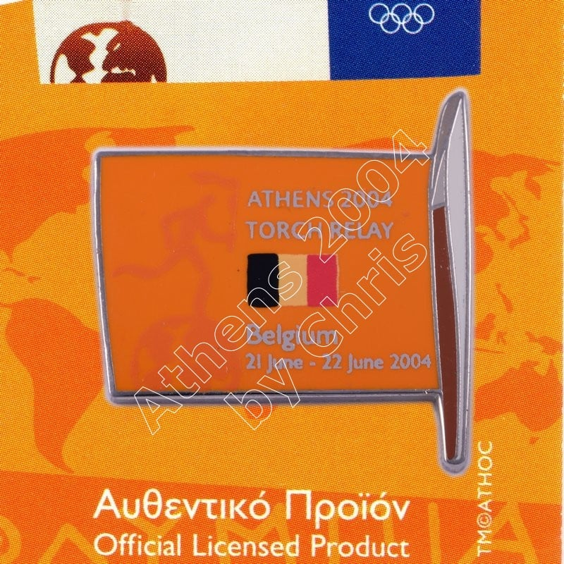 #04-169-013 Torch Relay International Route With Greek Flag Belgium 2004 olympic pin