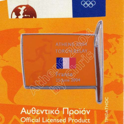 #04-169-016 Torch Relay International Route With Greek Flag France 2004 olympic pin