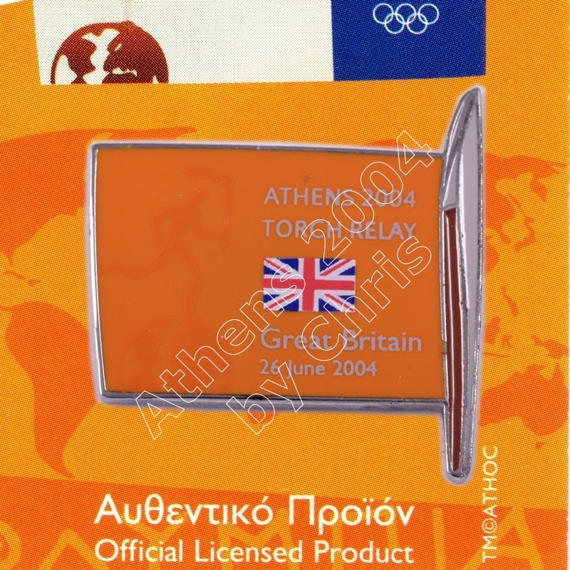#04-169-017 Torch Relay International Route With Greek Flag England 2004 olympic pin