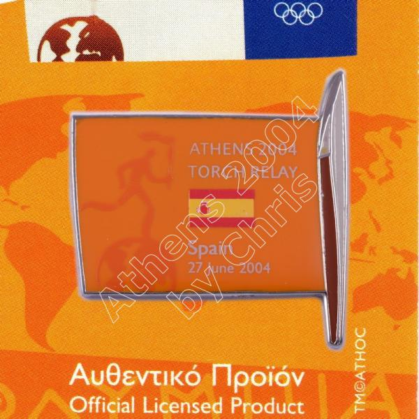 #04-169-018 Torch Relay International Route With Greek Flag Spain 2004 olympic pin