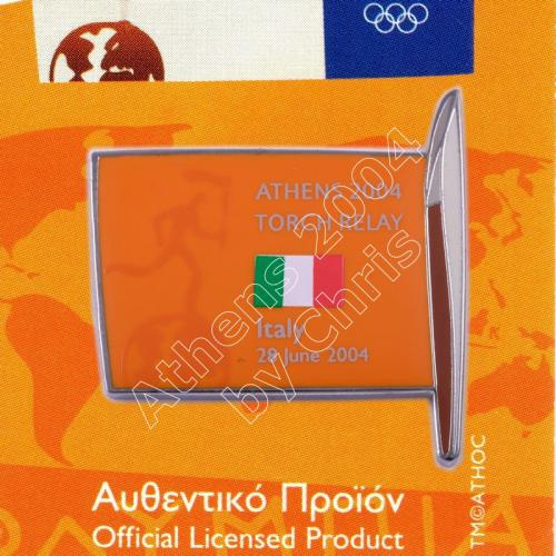 #04-169-019 Torch Relay International Route With Greek Flag Italy 2004 olympic pin