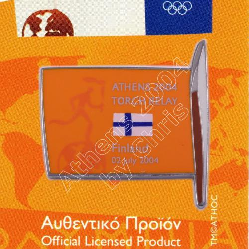 #04-169-022 Torch Relay International Route With Greek Flag Finland 2004 olympic pin