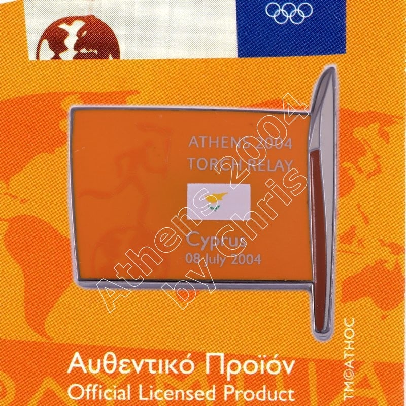 #04-169-027 Torch Relay International Route With Greek Flag Cyprus 2004 olympic pin