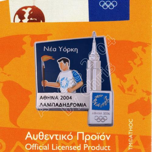 #04-171-004 Torch Relay International Route City New York Athens 2004 olympic pin