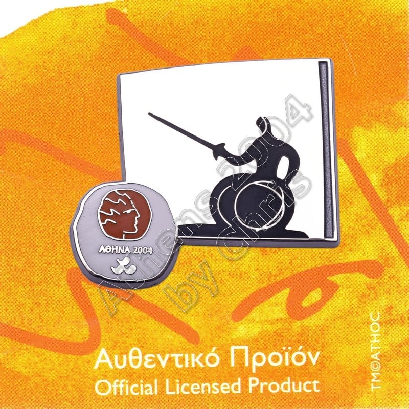 #04-116-036 Wheelchair Fencing Paralympic Sport Pictogram Pin Athens