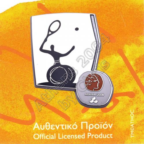 #04-116-038 Wheelchair Tennis Paralympic Sport Pictogram Pin Athens 2