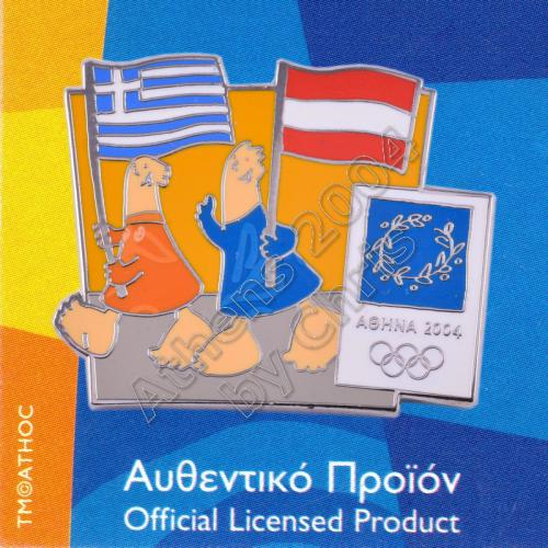 03-043-001 Austrian Greek flags with mascot olympic pin Athens 2004