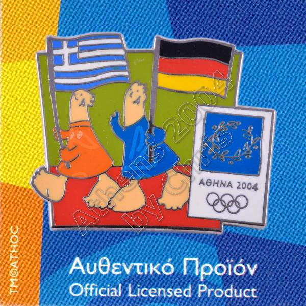 03-043-004 German Greek flags with mascot olympic pin Athens 2004