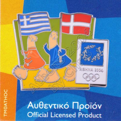 03-043-005 Danish Greek flags with mascot olympic pin Athens 2004