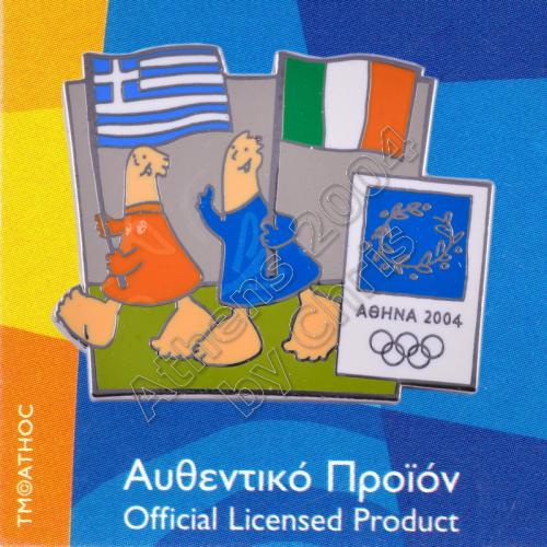 03-043-006 Irish Greek flags with mascot olympic pin Athens 2004