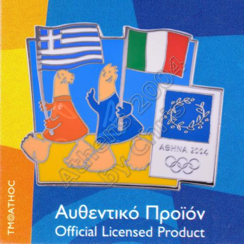 03-043-008 Italian Greek flags with mascot olympic pin Athens 2004