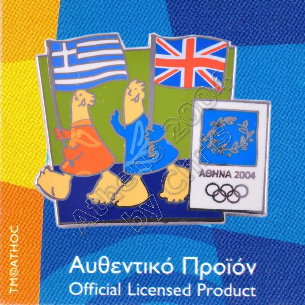 03-043-010 English Greek flags with mascot olympic pin Athens 2004