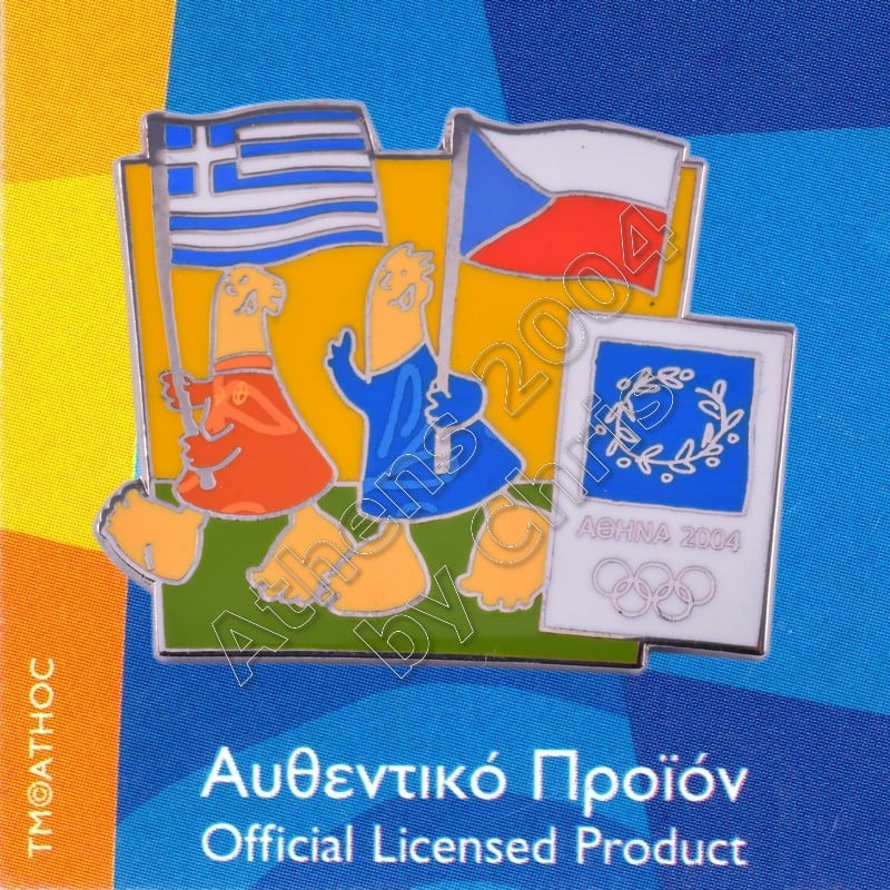 03-043-017 Czech Greek flags with mascot olympic pin Athens 2004