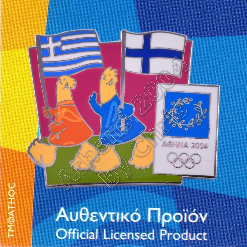 03-043-018 Finnish Greek flags with mascot olympic pin Athens 2004