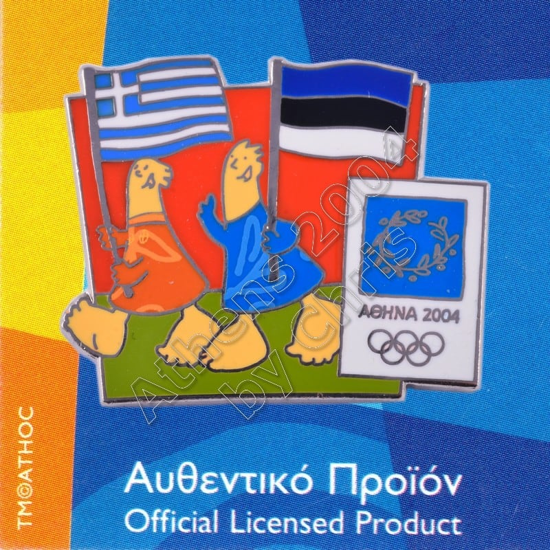 03-043-019 Estonian Greek flags with mascot olympic pin Athens 2004