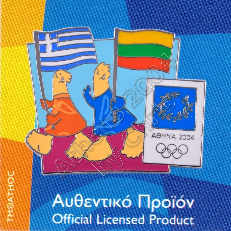 03-043-022 Lithuanian Greek flags with mascot olympic pin Athens 2004