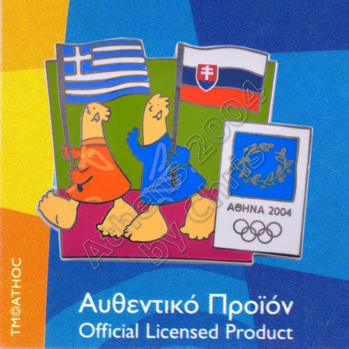 03-043-023 Slovak Greek flags with mascot olympic pin Athens 2004