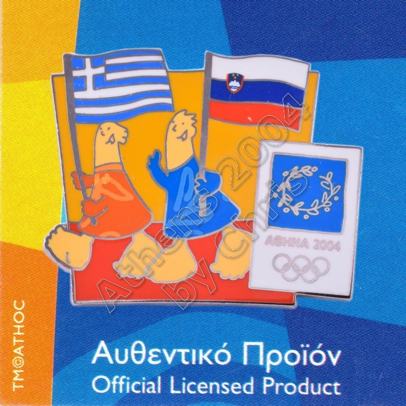03-043-024 Slovenian Greek flags with mascot olympic pin Athens 2004