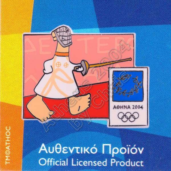 03-004-004 Fencing sport with mascot Athens 2004 olympic pin