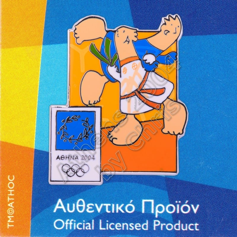 03-004-008 Judo sport with mascot Athens 2004 olympic pin