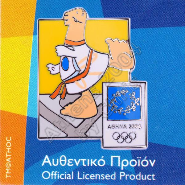 03-004-009 Taekwondo sport with mascot Athens 2004 olympic pin