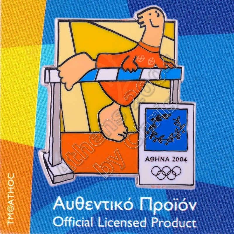 03-004-010 Athletics sport with mascot Athens 2004 olympic pin