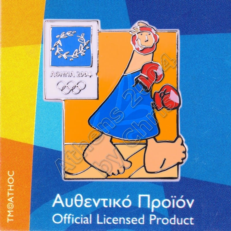 03-004-011 Boxing sport with mascot Athens 2004 olympic pin