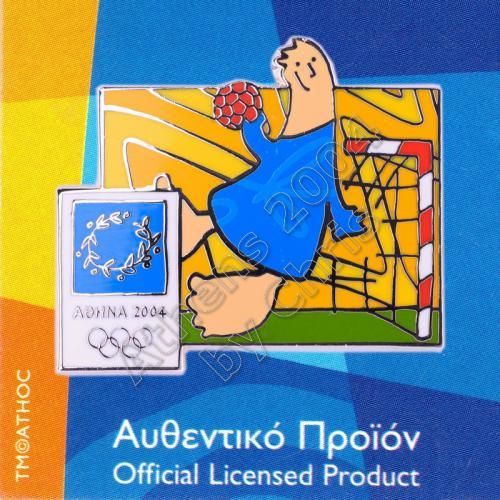03-004-014 Handball sport with mascot Athens 2004 olympic pin