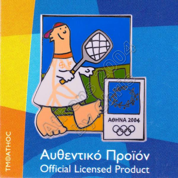 03-004-015 Tennis sport with mascot Athens 2004 olympic pin