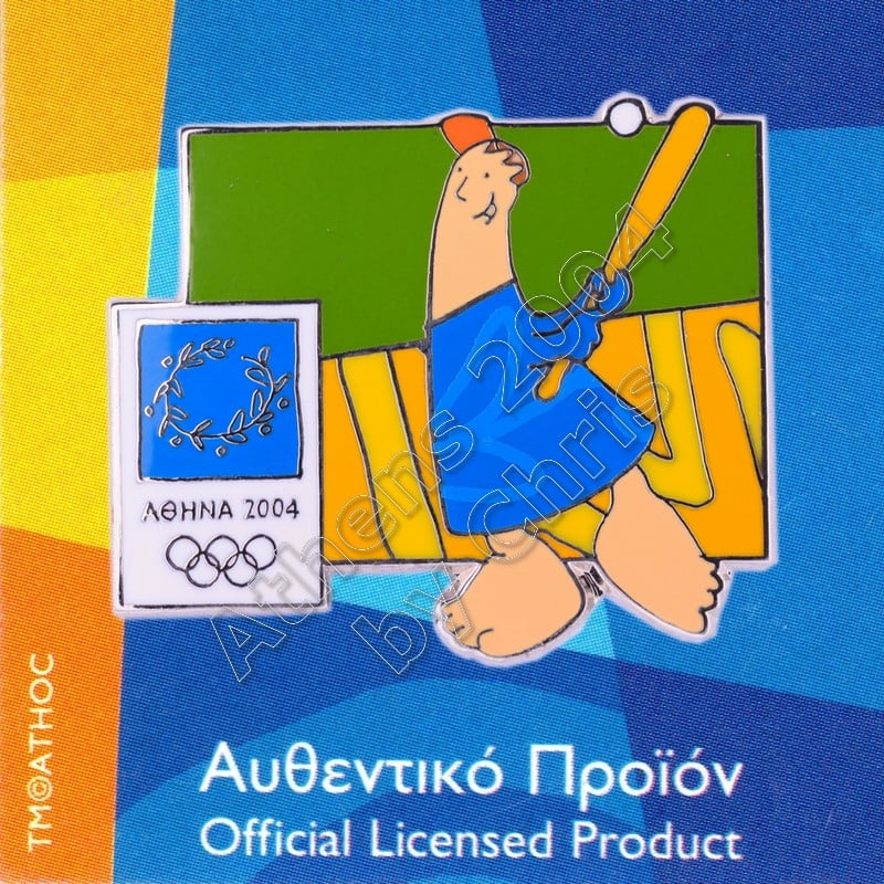 03-004-019 Baseball sport with mascot Athens 2004 olympic pin