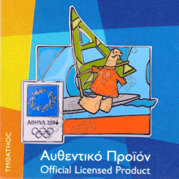 03-004-021 Sailing sport with mascot Athens 2004 olympic pin