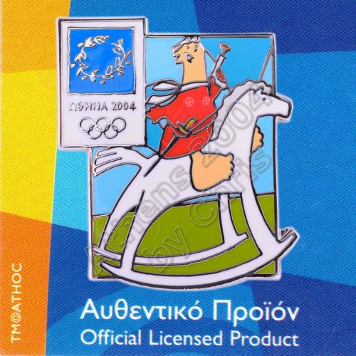 03-004-027 Modern Pentathlon sport with mascot Athens 2004 olympic pin