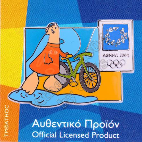 03-004-028 Triathlon sport with mascot Athens 2004 olympic pin