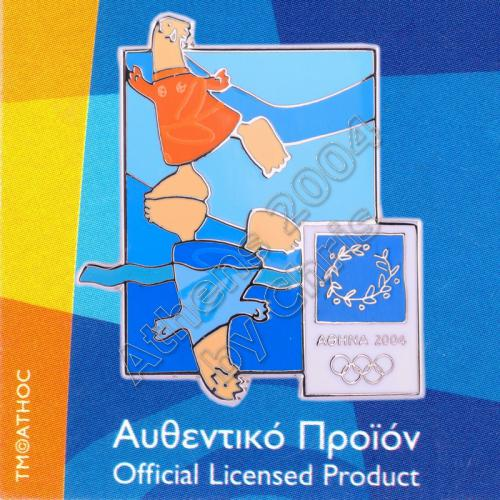 03-004-030 Synchronized Swimming sport with mascot Athens 2004 olympic pin