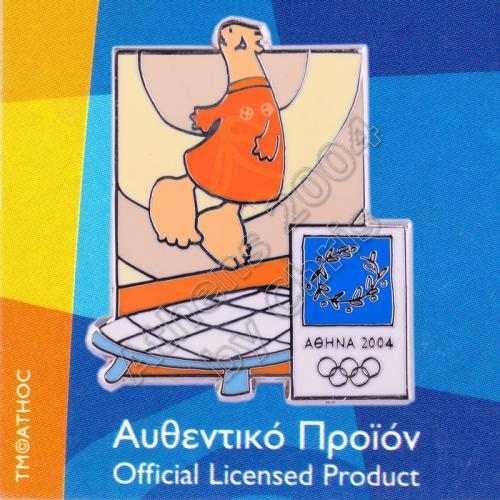 03-004-031 Trampoline sport with mascot Athens 2004 olympic pin