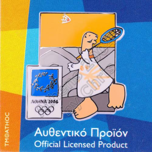 03-004-032 Badminton sport with mascot Athens 2004 olympic pin