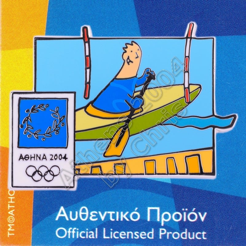 03-004-033 Canoe Kayak Slalom sport with mascot Athens 2004 olympic pin