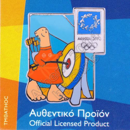 03-004-035 Archery sport with mascot Athens 2004 olympic pin
